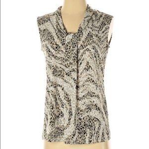 Dana Bachman Leopard Pattern knotted v neck shell